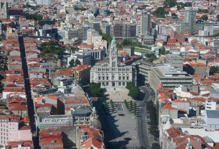 oporto: Oporto city hall - aerial view