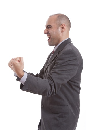 man symbolizing victory photo