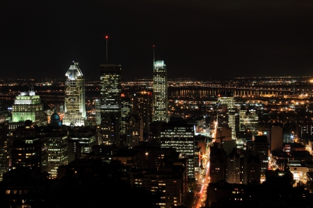 urbanism: City of Montreal at night viewed from the mont Royal