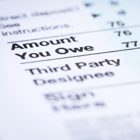 owe: Amount You Owe Stock Photo