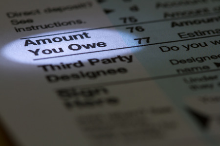 amount: Amount You Owe Stock Photo
