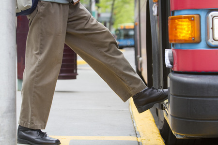 Boarding a Bus 스톡 콘텐츠
