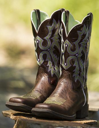 Fancy Western Boots Stock Photo