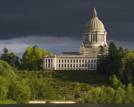 Olympia Washington Capital Building with Dark Sky and foreground photo