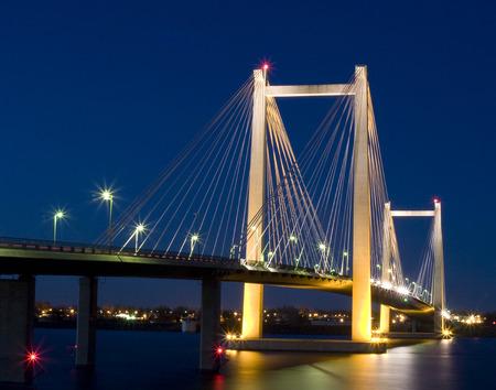 Pasco Bridge at Night 스톡 콘텐츠