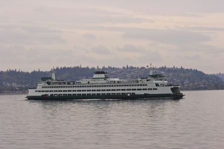 Horizontal Photo of a Washington State Ferry boat with water in the foreground