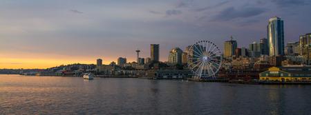 Horizontal Dusk shot of downtown Seattle