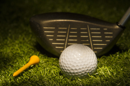 Paint with light Golf Ball shot with Club and Tee on turf.