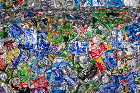 Horizontal Photo of Crushed Aluminum Can Bales Stock Photo