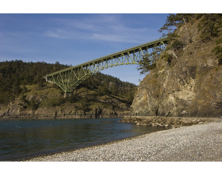Deception Pass Bridge between Whidbey and Fidalgo Islands in Northwest Washington state