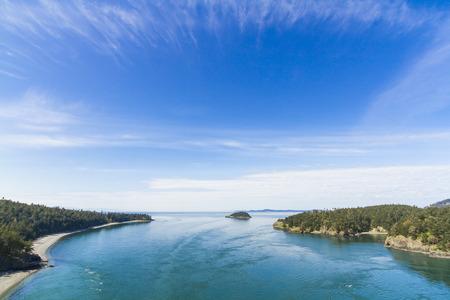 Horizontal Photo of Deception Island between Whidbey and Fidalgo Islands in Puget Sound Northwest Washington state 스톡 콘텐츠