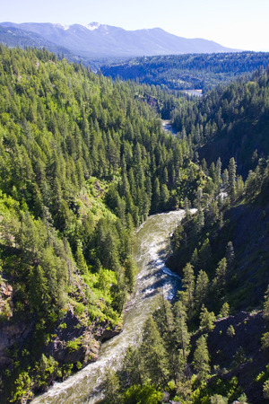 Vertical shot taken from the south side of the bridge over the Moyie River gorge near Moyie Springs in north Idaho 스톡 콘텐츠