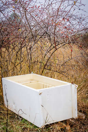 refrigerators and polluting products dumped in the field