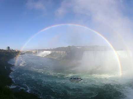 Full rainbow and boat in niagara falls Canada. impressive nature, wonder of the world