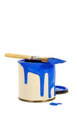 pintura derramada: Puede pintar de azul, derram� pintura y pincel en la parte superior de puede