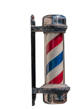 Retro barber pole on transparent PNG background