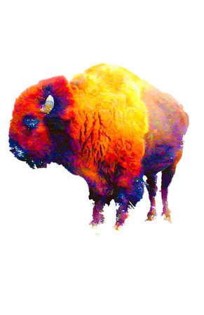 Digitale impressionisme abstracte kleurrijke bizon op witte achtergrond