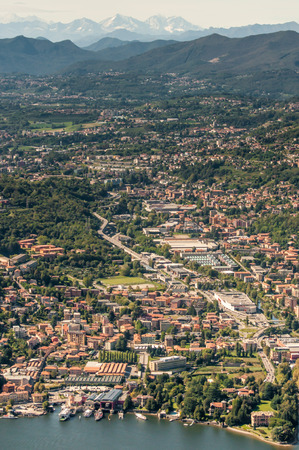 arial view: An arial view of the town called Como next to lake Como in Northern Italy.