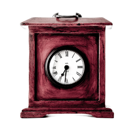 twenty four month old: Old wooden clock on white background.