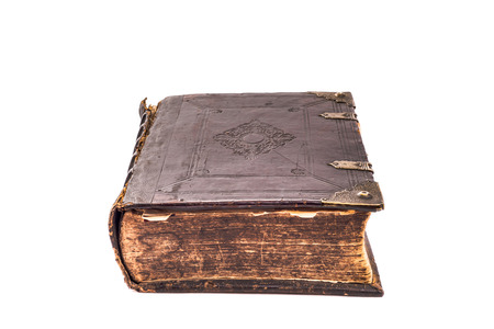 tarnished: Old book with tarnished pages on a white background. Stock Photo