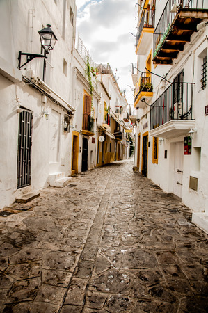 days gone by: Views inside the old town of Ibiza Town with picturisque old buildings.