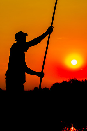 dugout: A skilled poler pushes his dugout boat forward in the Okavango Delta, while standing upright in the boat, and seen as a silhouette, arms stretched out, while holding the pole in both hands, behind him the yellow glow of the sun setting in a beautiful red