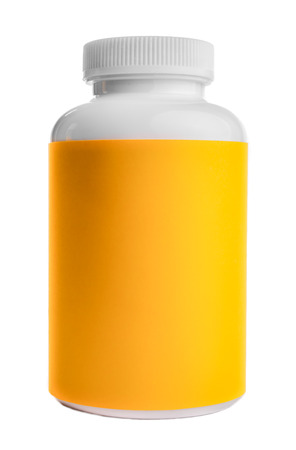 containment: A plastic container bottel, commonly used for medication such as tablets and pills, with a yellow label, stands on an isolated white background. Stock Photo