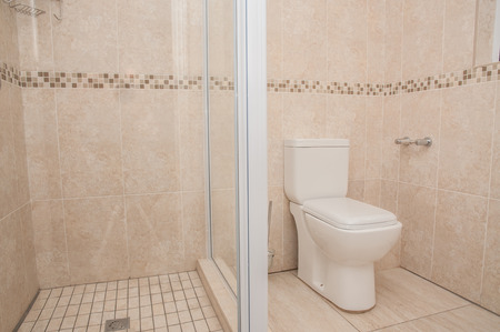 newly: A newly build, and completed bathroom with shower and toilet, tiled from top to bottom, in a newly build house.