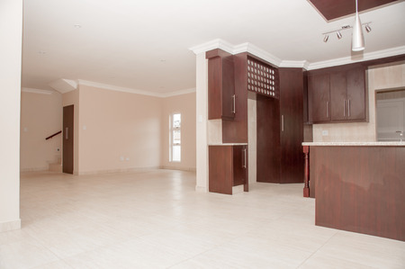 open plan: A view of an open plan kitchen in a newly build house as it is situated right next to the living area.