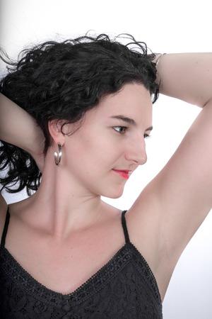 twentysomething: Portrait of a Young model in her mid twenties in a black dress.