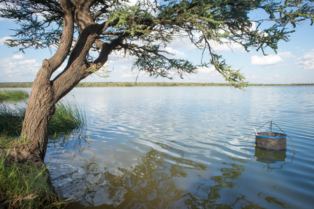 passtime: A fishing pen for keeping your catch of the day is securely pegged to the ground in the water by a dam under an acacia tree.
