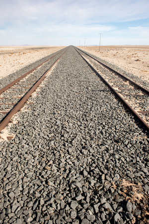 stretch out: Two symetrical railroad tracks stretch out in to the desert.