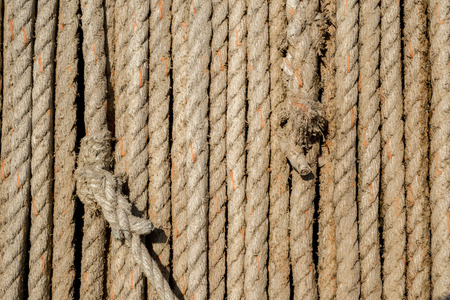 natural rope: Natural rope made of fibre as background with knot in foreground.