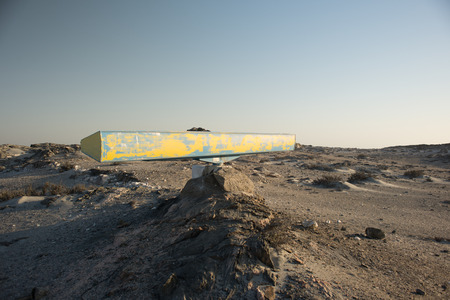 A radar scanner located low down on the sandy soil near the lighouse at Dias Point in Namibia. Stock Photo