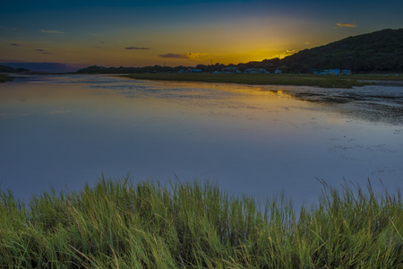 A view of the Kieskamma river mouth by Hamburg in the Eastern Cape, South Africa, at sunrise.