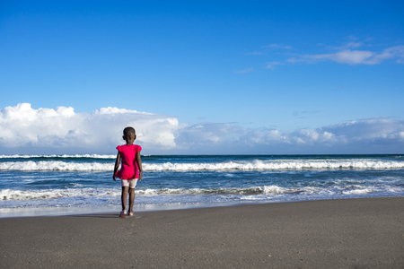 A little girl in a pink top stands with her back to the viewer on the beach as she looks towards the waves and the ocean. Stock Photo