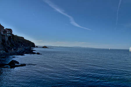 Beautiful view of the coastline near Collioure at sunset