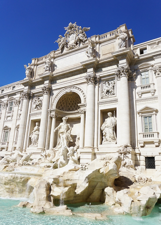 An upclose view of the historical Trevi Fountain in Rome Italy.