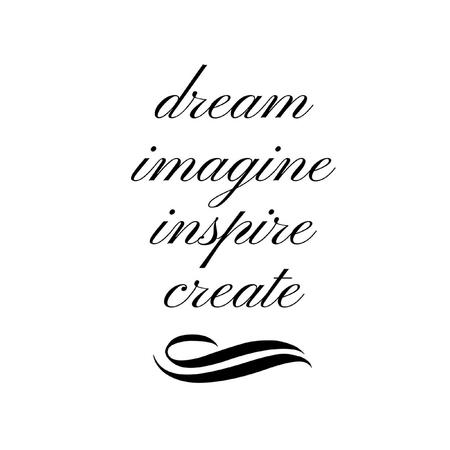 Inspirational Quote:  Dream, Imagine, Inspire, Create in typography 版權商用圖片