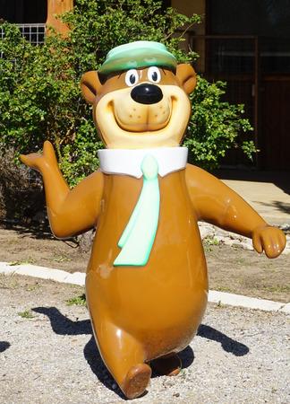 FREDERICKSBURG, TEXAS - MARCH 7, 2018- Yogi the Bear and BooBoo  Statues at Yogi Bear's Jellystone Park
