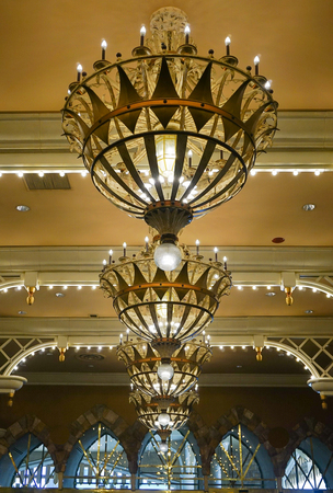 Las Vegas, Nevada; May 11, 2018:  The interior lobby area of the Luxor Hotel and Casino