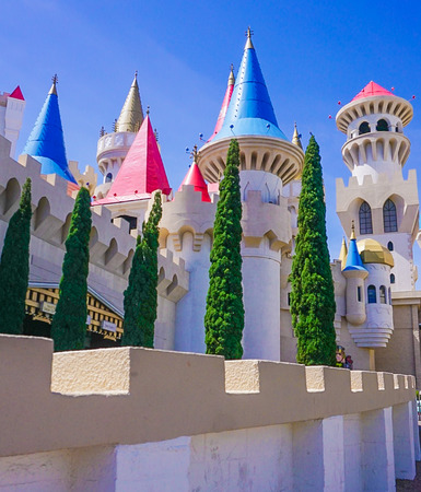 Las Vegas, Nevada; May 11, 2018:  The exterior side view of the Excalibur Hotel and Casino Redactioneel