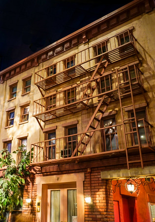Las Vegas, Nevada; May 11, 2018; Replica of buildings with fire escapes inside the New York Hotel and Casino