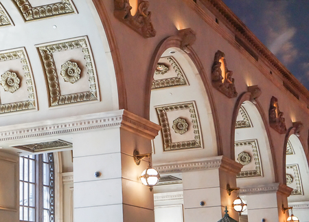 Las Vegas, Nevada: May 11, 2018:  The interior architecture of the buildings inside of the Paris Hotel and Casino