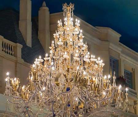 Las Vegas, Nevada: May 11, 2018:  Chandelier on the interior of the Paris Hotel and Casino