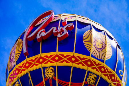 Las Vegas, Nevada: May 11, 2018:  The Paris Balloon Sign outside the  Paris Hotel and Casino Redactioneel
