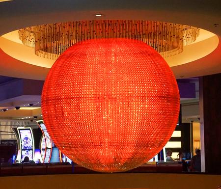 Las Vegas, Nevada: May 11, 2018:  The Colorful Sphere lit up in Orange in Planet Hollywood Hotel and Resort Redactioneel