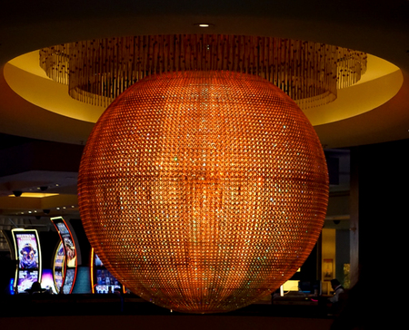 Las Vegas, Nevada: May 11, 2018:  The Colorful Sphere lit up in Orange in Planet Hollywood Hotel and Resort in Planet Hollywood Hotel and Resort