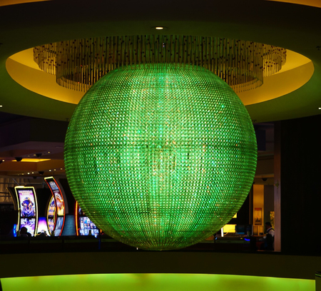 Las Vegas, Nevada: May 11, 2018:  The Colorful Sphere lit up in Bright Aqua in Planet Hollywood Hotel and Resort