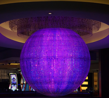 Las Vegas, Nevada: May 11, 2018:  The Colorful Sphere lit up in Purple and Blue in Planet Hollywood Hotel and Resort
